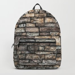 Stone Wall Slabwork in Grey Beige Granite Backpack