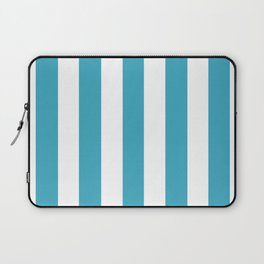 Moonstone turquoise - solid color - white vertical lines pattern Laptop Sleeve