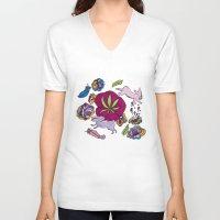 cannabis V-neck T-shirts featuring Cannabis Bunnies by Ri 13