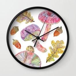 Wild Mushrooms - Russulas and Oak Wall Clock