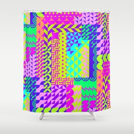 Abstract geometrical neon colors eclectic pattern Shower Curtain