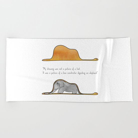 The Little Prince, a hat or a boa constrictor? Beach Towel