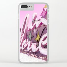 "Pink ""In Love"" Sign at the Neon Museum in Las Vegas, Nevada Clear iPhone Case"