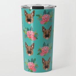 German Shepherd florals bouquet dog breed pet friendly pattern dogs Travel Mug