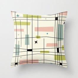 Mid Century Art Bauhaus Style Pastel Throw Pillow