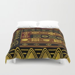 Ethnic African Golden Pattern on black and brown Duvet Cover