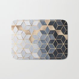 Soft Blue Gradient Cubes Bath Mat