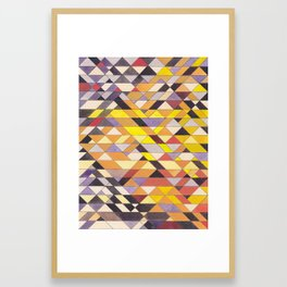 Triangle Pattern No.8 Black and Yellow Framed Art Print