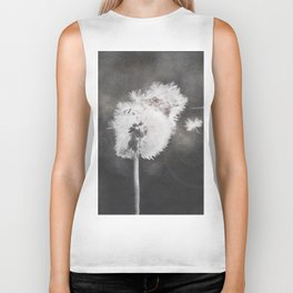 Dandelion in the Wind (black white) Biker Tank