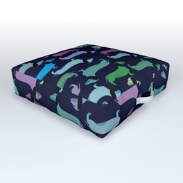 Colorful dachshunds Outdoor Floor Cushion