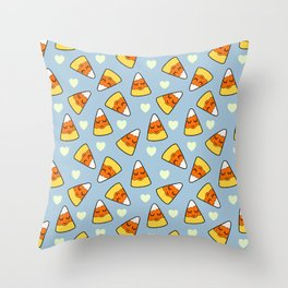 Candy Corn and Heart Pattern Throw Pillow