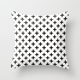 Crosses   Criss Cross   Plus Sign   Hygge   Scandi   Black and White   Throw Pillow