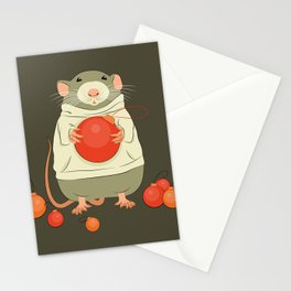 Mouse with a Christmas ball II Stationery Cards