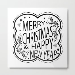 Merry Christmas And Happy New Year Gift Metal Print