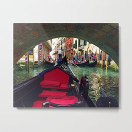 Venetian Gondola Passing Under a Bridge Metal Print