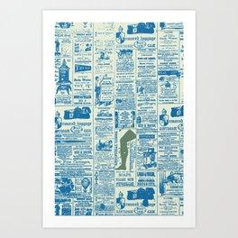 Newspaper blues Art Print