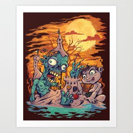 Zombie At The Beach  Art Print