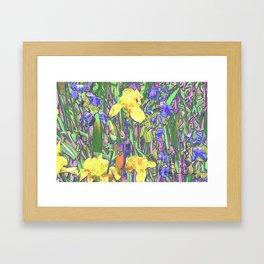 Blue & Yellow Iris Garden - Abstract Framed Art Print