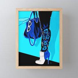 Blue Fashion Boots by Cindy Rose Studio Framed Mini Art Print