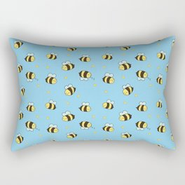 Busy Bees on Blue Rectangular Pillow