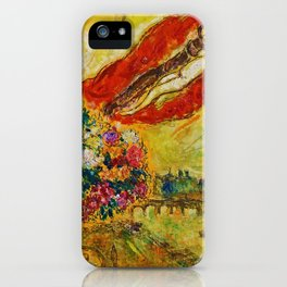 Above Paris (and bouquet of flowers) by Marc Chagall iPhone Case