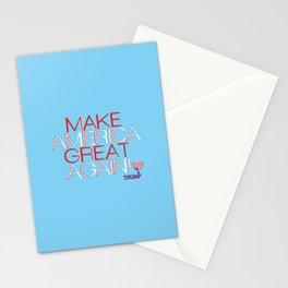Make America Great Again w/ Trump Trumpet & Flag logo. Stationery Cards