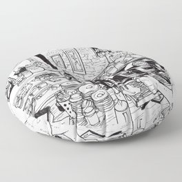 The coffeecup board cafe Floor Pillow