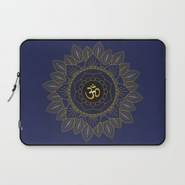 Om Symbol and Mandala in Spiritual Gold Purple Blue Violet Laptop Sleeve