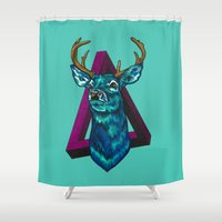 stag Shower Curtains featuring Stag   by Cristina Moore