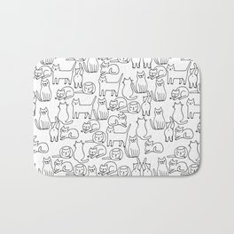 Funny sketchy white kitty cats Bath Mat