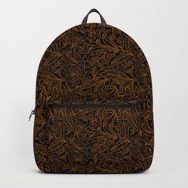 Dark Orange Lined Floral Pattern on Black Backpack