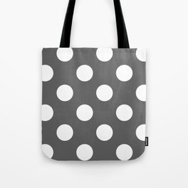 Large Polka Dots - White on Dark Gray Tote Bag