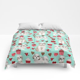 Shih Tzu valentines day pattern for dog lover with cute shih tzu puppy love by pet friendly Comforters