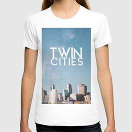 Twin Cities Skylines and Stars-Minneapolis and Saint Paul Minnesota Night T-shirt
