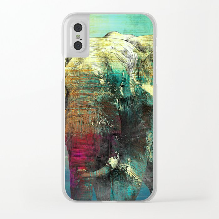 Abstract Grunge Elephant Digital art Clear iPhone Case