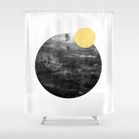 ripley Shower Curtains featuring Ripley - abstract marble texture india ink painting minimal white and black with gold canvas art by CharlotteWinter