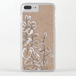 black and white plant Clear iPhone Case