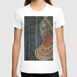 The Red Beads/mud cloth background T-shirt