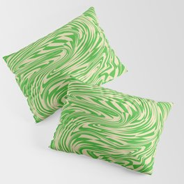 Psychedelic Warped Marble Wavy Checkerboard in Green and Cream Pillow Sham