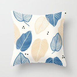 Leaves - Mid Century Pattern Throw Pillow