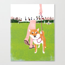 Shiba inu in Central Park Canvas Print