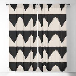 Geometric Pyramid Pattern - Black Blackout Curtain
