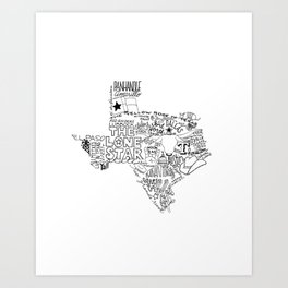 Texas - Hand Lettered Map Art Print