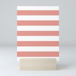 Salmon Rose - solid color - white stripes pattern Mini Art Print