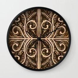 New Zealand koru fern lino cut Wall Clock