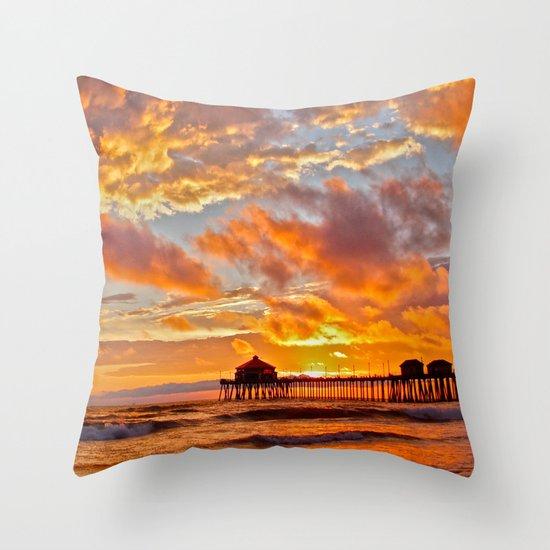 California Dreaming (cropped) ~ Huntington Beach Pier Throw Pillow