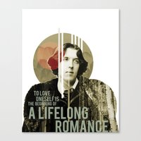 oscar wilde Canvas Prints featuring Oscar Wilde by LottaLuckDesign