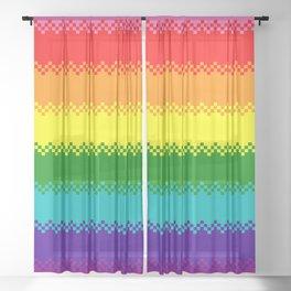 pixel pride- Gilbert Baker gay pride flag Sheer Curtain