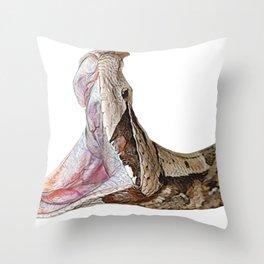 Gaboon Viper Face Reptile venomous 90 Degrees Eating Throw Pillow
