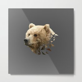 Low Poly Bear--Grey Metal Print